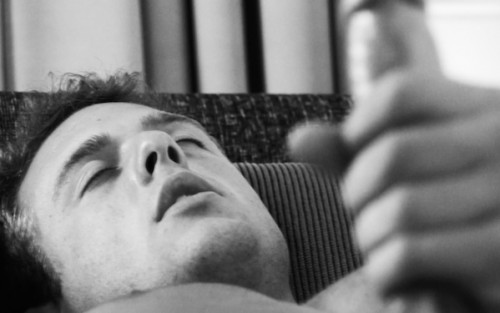 Ryan James masturbating in a black and white erotic film by Louise Lush for Bright Desire