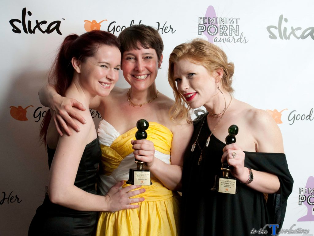 Feminist Porn Awards with winners Jennifer Lyon Bell and AnnaBelle Lee (Silver Shoes) and Madison Young