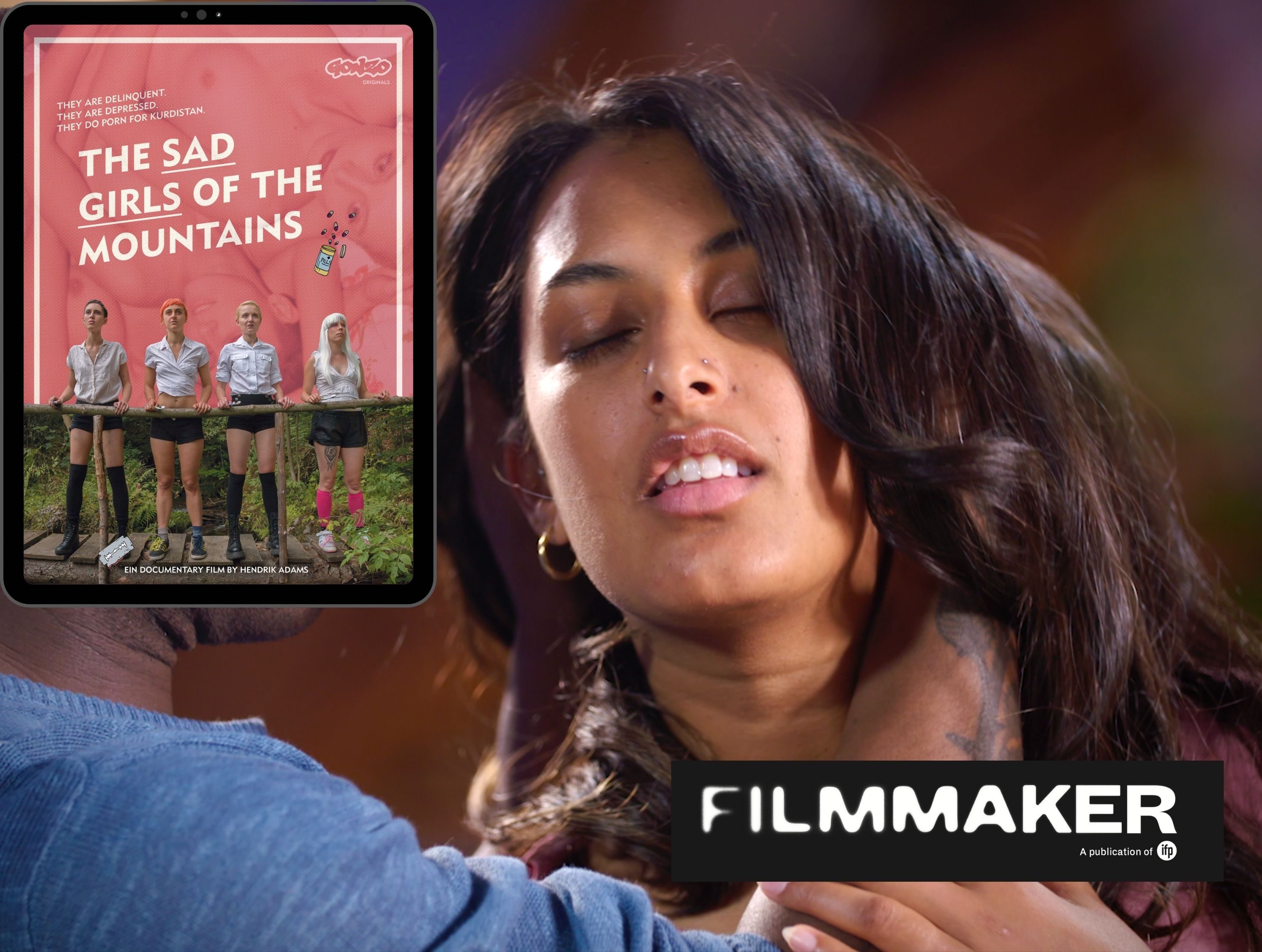 """Filmmaker Magazine posts """"The New Nostalgia of Touch: The Best Adult Erotic Filmmakers to Watch in 2021"""". Image of Kali Sudhra in Wild Card (Jennifer Lyon Bell, Blue Artichoke Films) and poster for """"The Sad Girls of The Mountains (Candy Flip and Theo Meow.)"""