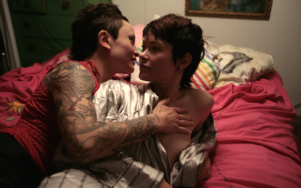 Syd Blakovich and Jiz Lee in bed in Champion, an erotic movie directed by Shine Louise Houston for Pink And White Productions