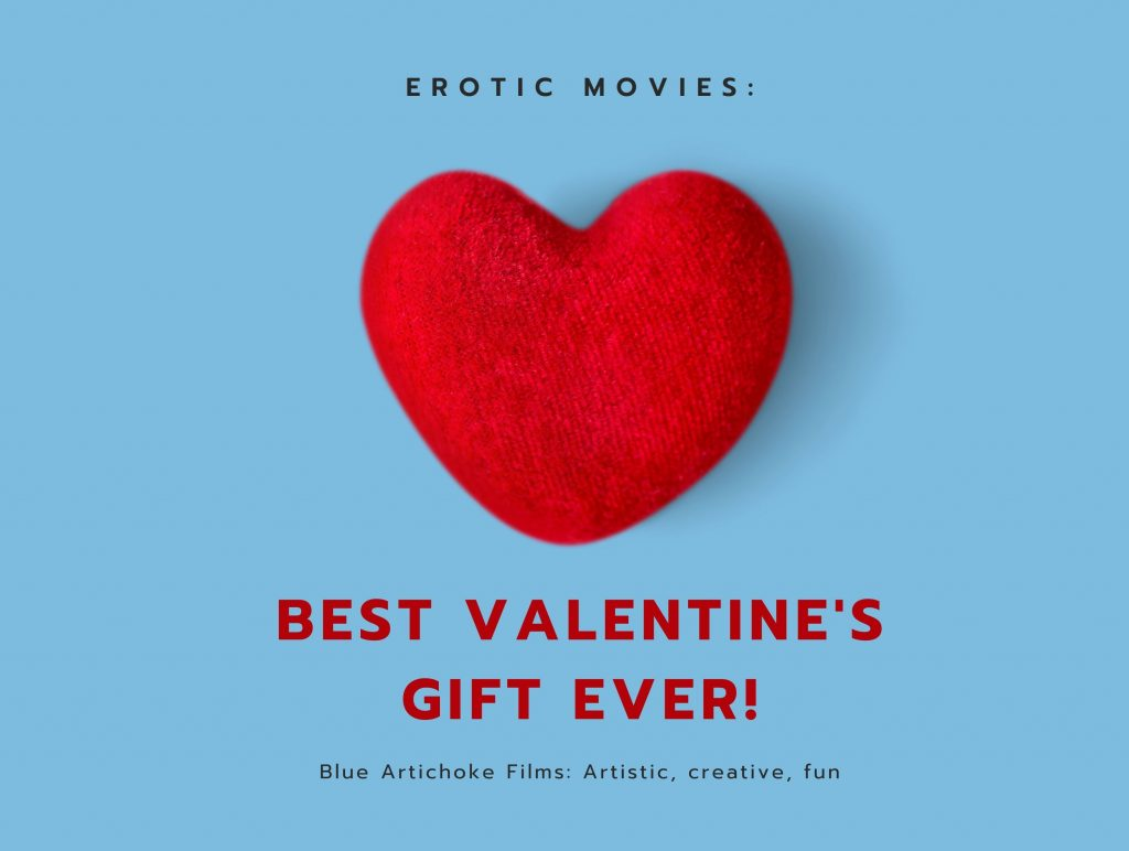 Red felt heart and Valentine's Day gift card promo for Blue Artichoke Films