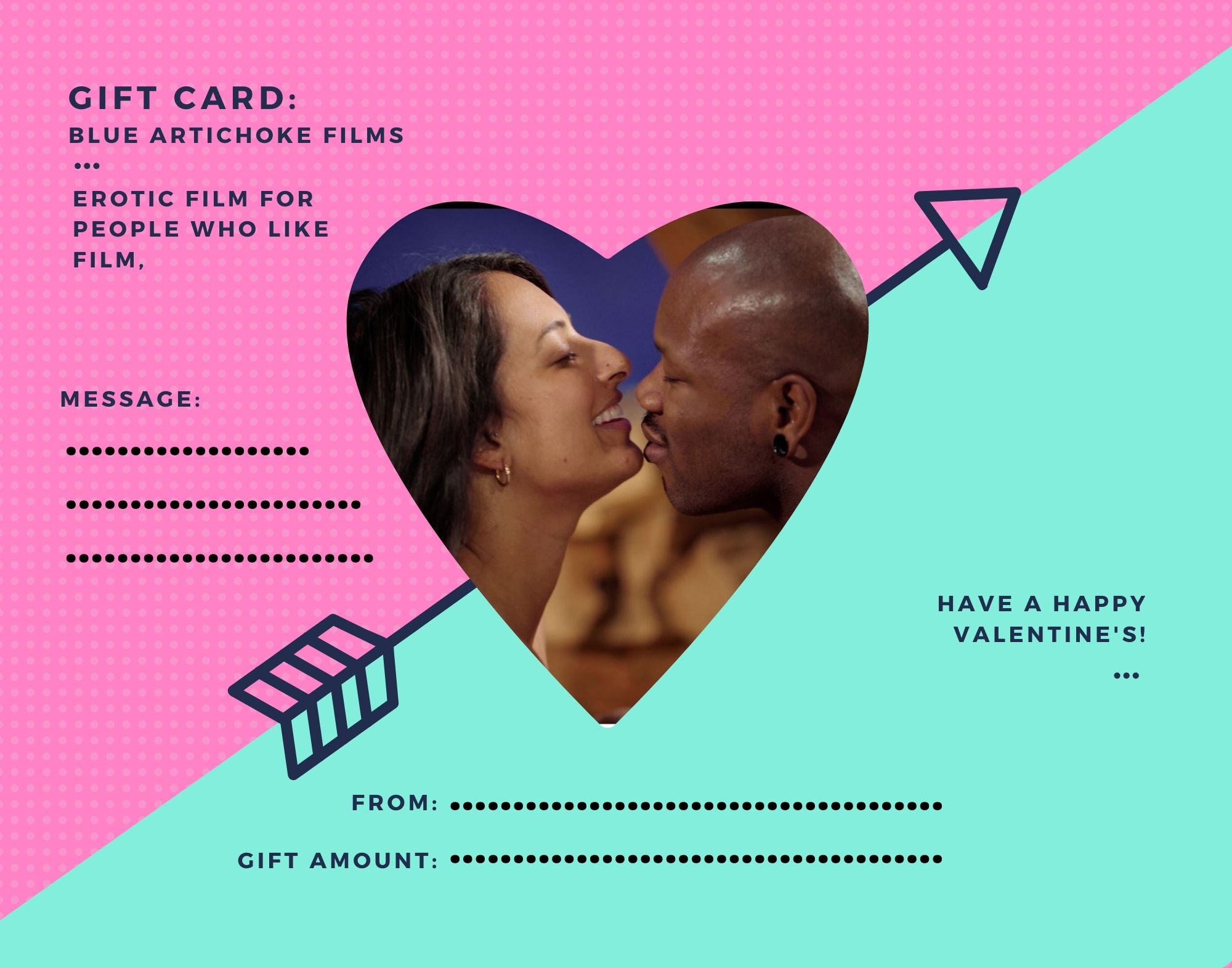 Blue Artichoke Films gift card for Valentine's Day, with image of Wild Card'sKali Sudhra and Bishop Black